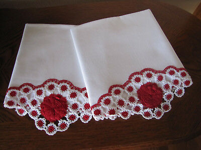 Vintage Pair Of Pillowcases All White Crotcheted Red Cabbage Roses Exquisite Wow