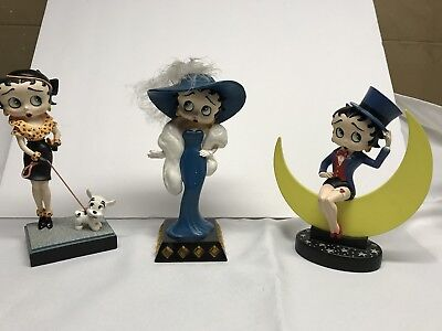 (3) Betty Boop Figures [Out for a Stroll, Glamour Girl & Moonglow] Danbury Mint