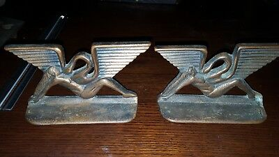 ANTIQUE Armor Bronze ART DECO  NUDE LADY Led a and Swan BOOKENDS