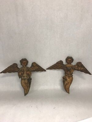 Pair wood carved angels flat wall hanging Christmas Holiday Xmas Vintage cherub