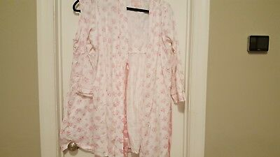Motherhood Maternity Nursing Nightgown & Robe Pink on White Floral Size XL