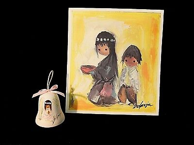 "Set Ted Degrazia Limited Ed Print 1983 ""hoping""  8""x8"" & Angel Pottery Bell 1984"