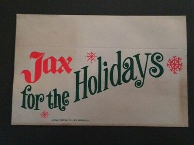 "JAX Beer~Rare ""JAX for the Holidays"" *Shelf Talker* GREAT COLORS !"
