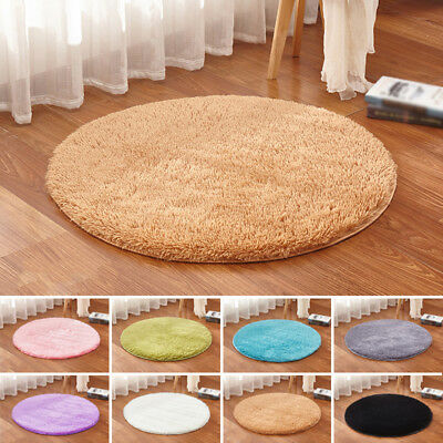 Fluffy Rugs Shaggy Area Rug Home Bedroom Carpet Round Floor Anti-Skid Mat Decor