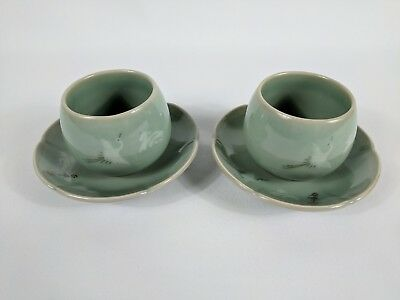 Chinese Asian Tea Cups and Saucers Green Crane Unbranded No Handles