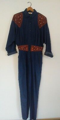 VTG Sunny South 80s Denim Jumpsuit / Sz SMALL - MEDIUM / Western Rodeo