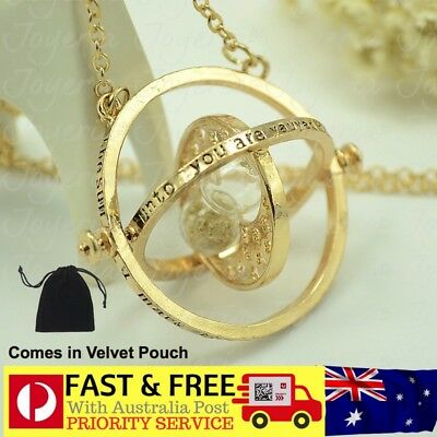 Gold Time Turner Hermione Granger Rotating Spin Hourglass Harry Potter Necklace
