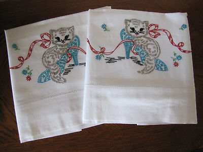 Vintage Pair of Pillowcases Embroidered Kitten In A High Heel Shoe Red Bow Cute
