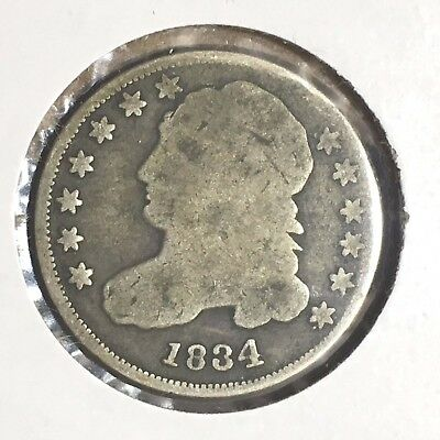 "1834 Capped Bust Dime - Large ""4"" variety"