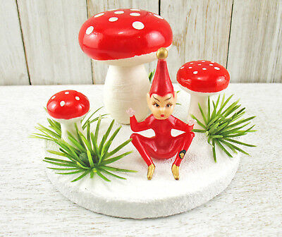Vintage Style RED Pixie Spun Cotton Mushrooms Christmas Handmade Decor ELF