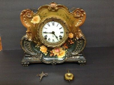 Pre 1900 Ansonia Porcelain Anniversary Mantle Clock w/ Pendulum-Clematis Pattern