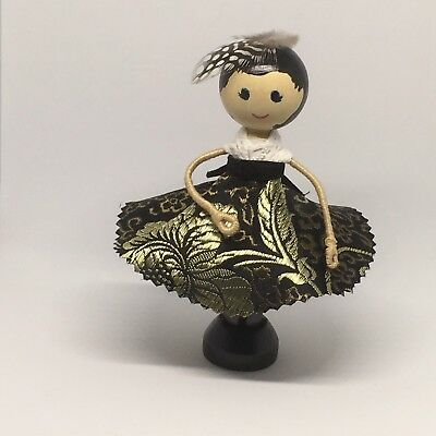 Black And Gold - Clothespin Doll, Peg Doll,