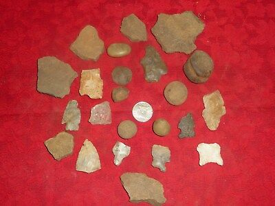 Native American Artifacts Lot Arrowheads Pottery 9