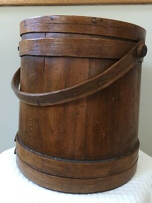 Exceptional Antiques Covered Sugar Bucket W/traces Of Blue Paint, Excellent Cond