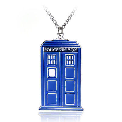 New blue Doctor Who 3D TARDIS Police Box Pewter Tall Pendant Necklace