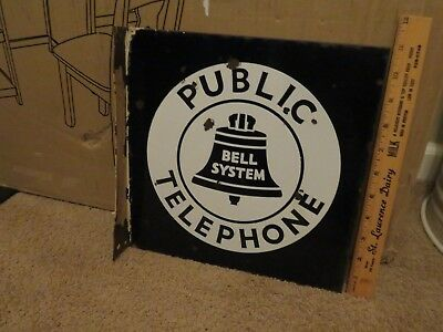 Vtg. Original Porcelain 2-Sided Bell System Public Telephone Square Flange Sign