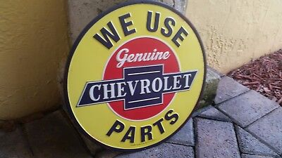 We Use Genuine Chevrolet Parts Metal Sign 12 By 12 Inch Vintage Style Gas Shop