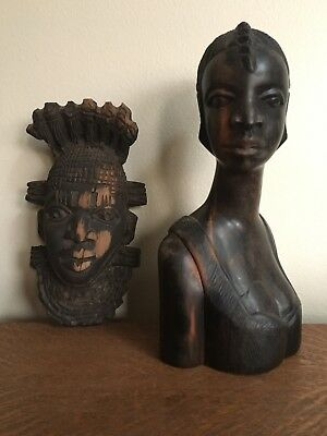 """10"""" vintage hand carved solid wood African Woman Female Bust/Statue - very heavy"""