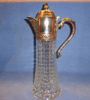 Vintage Glass Carafe / Decanter With Silverplate Lid & Handle From Italy