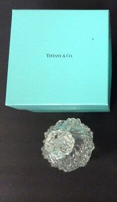 "Original Tiffany Crystal Perfume Bottle w/ Turquoise Box-5"" Tall-MINT-signed"