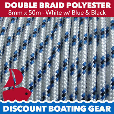 NEW 8mm Double Braid Polyester Marine Yacht Rope | 50m White & Blue Sailing Rope