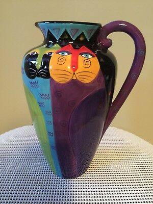 """Vtg. Early 2000 Made By Ganz Laurel Burch 10 1/2"""" Tall 2 Cats Whimsical Pitcher"""