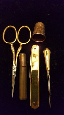 Vintage Seamstress 14k Gold J.A. Henckels Twin Works German Thimble Scissors Set