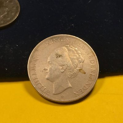 1937 Netherlands 2.5 Gulden Crown Size Silver~Super Choice About Uncirculated~Km
