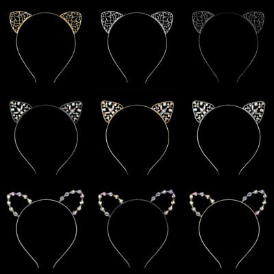Beauty Girls Metal Rhinestone Cat Ear Headband Hair band Costume Party Cosplay