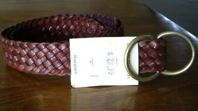 "Brown Leather Plaited Belt - 34"" - Brand New - Great Value"