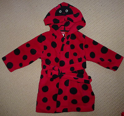 NWT Sprout Baby Girls Red Spots Lady Bug Beetle Hooded Dressing Gown Size 0
