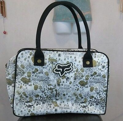 Fox Rider Co. Beach / Shopping Bag White Gold Black w/ Brass Zipper & Studs
