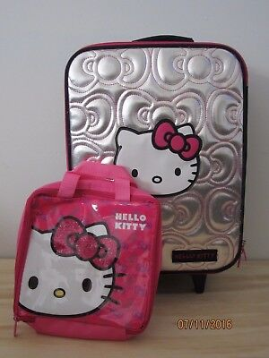 Hello Kitty Rolling Luggage Travel Set with Toiletry Bag **EXC COND**