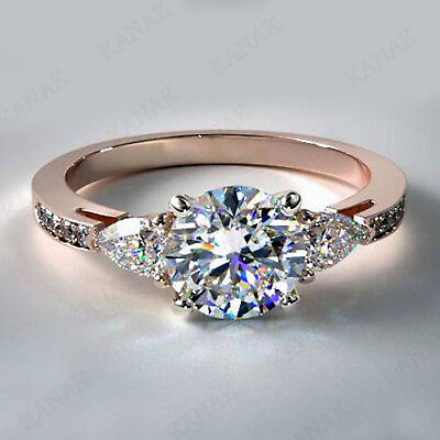 Real 10K Rose Gold 2 CT Diamond Round Cut Solitaire Engagement Wedding Ring