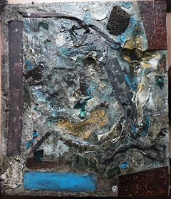 Vintage Abstract Painting Signed Tapies, Antoni, Modern Old 20th Century Art