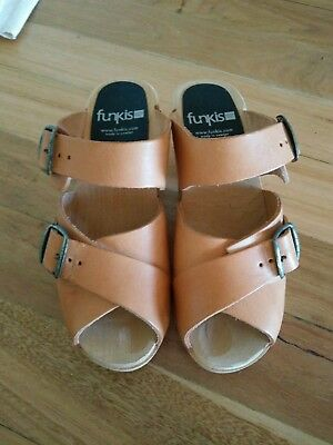 Funkis clogs natural leather wood high BRAND NEW 36 5