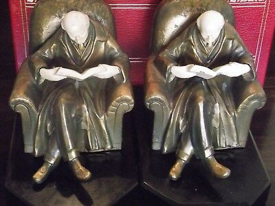 John Ruhl J. B. Hirsch's Museum Quality, Old Man Reading a Book Antique Bookends