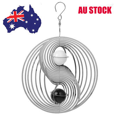 3D Wind Chime Wind Spinner Spiral White Crystal Ball Yard Church Home Decor AU