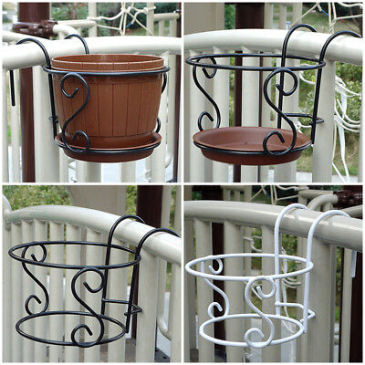 Balcony Plant Hanging Racks Creative Round Flower Pot Floral Railing Fence Decor