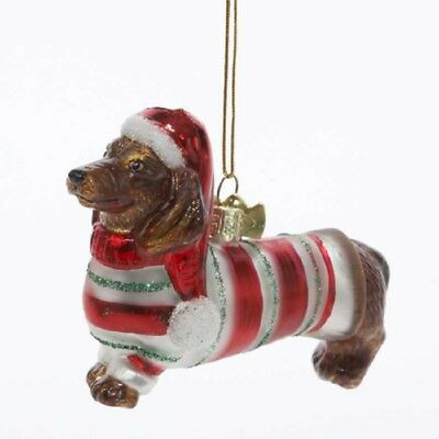Red Dachshund Dog in Striped Sweater Christmas Holiday Glass Ornament