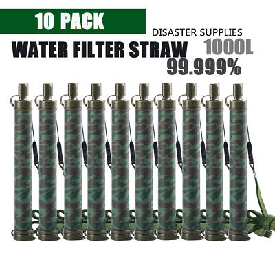 10X Camping Hiking Emergency Life Survival Portable Purifier Water Filter Straw