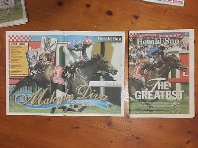 MAKYBE DIVA 3 Times MELBOURNE CUP HERALD SUN NEWSPAPER PLUS POSTER Great Cond.