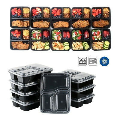 10Pcs Microwavable Meal Prep Plastic Containers 3 Compartment  Food Storage AU