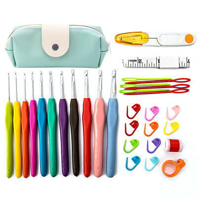 30 PCS Crochet Hooks Kit Yarn Knitting Needles Sewing Tools Grip Set With Bag