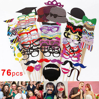 76Pcs Xmas Photo Booth Props Mustache On A Stick Birthday Wedding Party Selfie