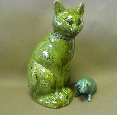Antique Ewenny pottery cat Wales Welsh slipware