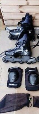 1 pair of Bauer inline Skates Rollerblades Hard Shell, UK Size 9 with knee pads