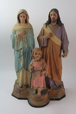 * Image Of The Sacred Family In Polychrome Stucco. Xix Century.