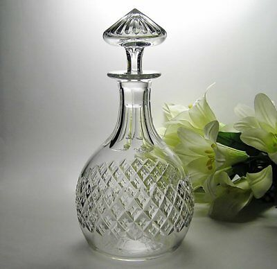 EXQUISITE Vintage CUT CRYSTAL 1Ltr DECANTER * DIAMOND & Cross Pattern ~ Numbered