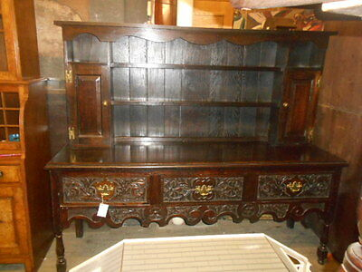 Antique Victorian oak wood dresser later top carved storage beautiful style